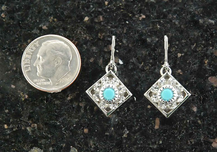 Finishing Touch Diamond Shaped Swarovski Crystal & Turquoise Earrings - Euro Wire