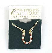 Finishing Touch Ruby/Crystal Horseshoe Necklace Gold