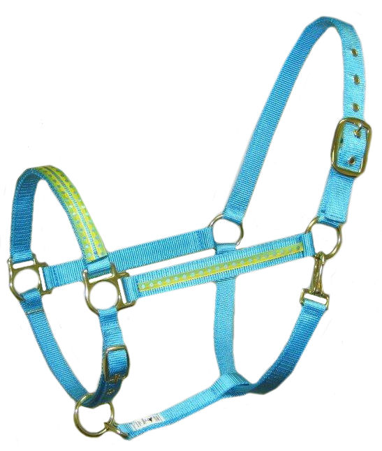 Ronmar Nylon Halter - Leather Crown/Double Buckle - Yellow/Turquoise Dots