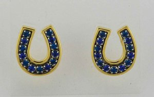 Finishing Touch 2-Tone Channel Horseshoe Earrings - Blue
