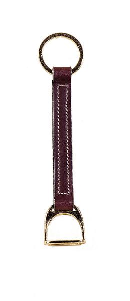TORY LEATHER Brass Stirrup Strap Key Ring