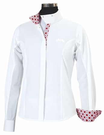Equine Couture Jenna Show Shirt - Ladies Plus Size-White/52