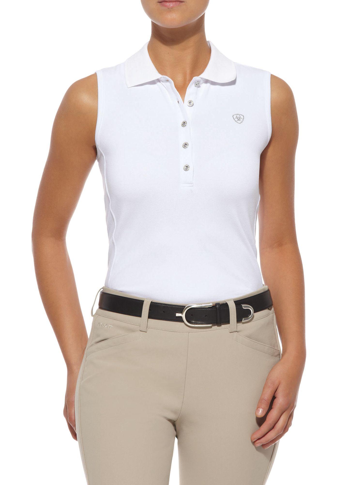 Ariat Prix Sleeveless Polo - Ladies, White