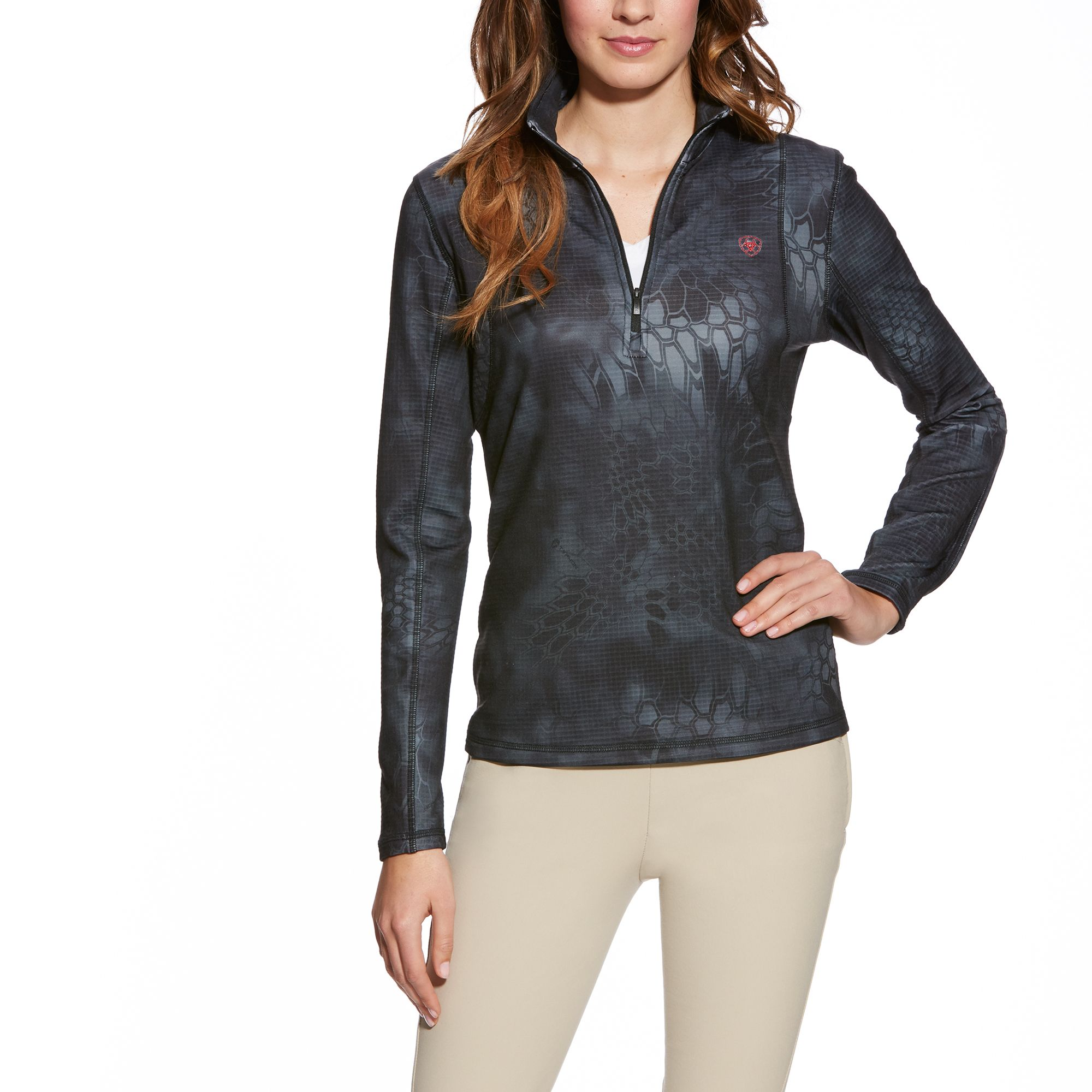 Ariat Kryptek Camo 1/4 Zip - Ladies, Black Typhoon