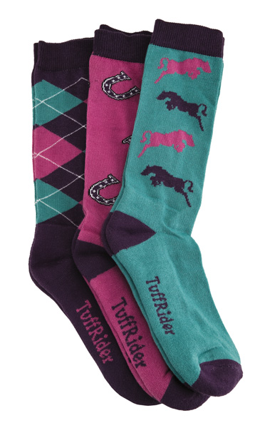 TuffRider Whimsical 3 Pack Kids Socks