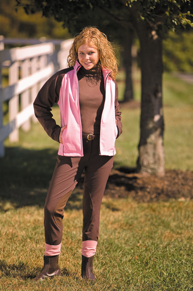 TuffRider Active Soft Shell Front Zip Knee Patch Breech