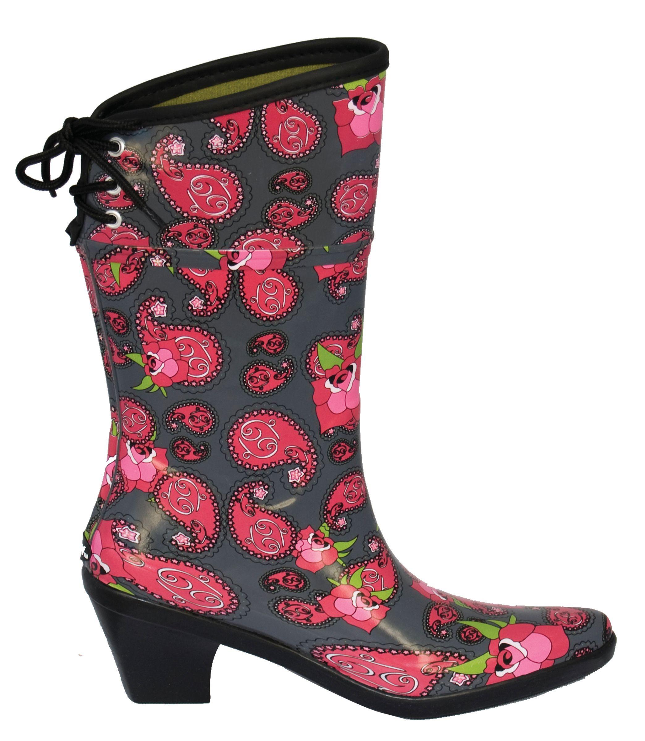dav Ladies Flirt Paisley Rose Rain Boots