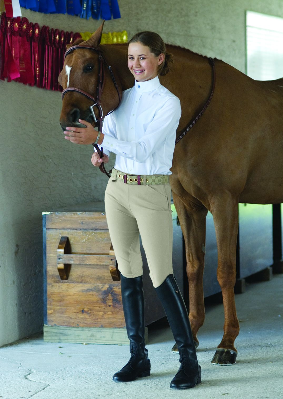 Ovation Girls EuroWeave Side Zip Riding Breeches