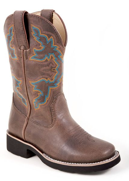 Roper Faux Leather Square Toe RiderLite 2 Boots - Kids, Brown
