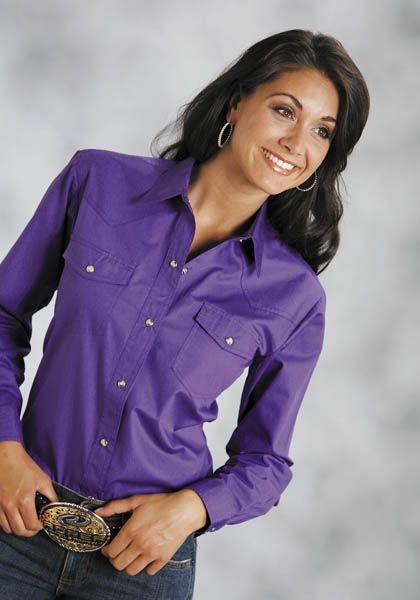 Roper Poplin Shirt - Ladies, Long Sleeve, Purple