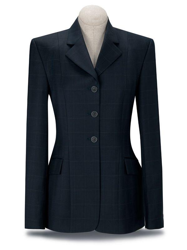 RJ Classics Ladies Prestige Navy Plaid Show Coat