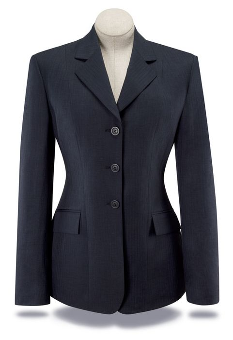 RJ Classics Essential Washable Show Coat - Ladies Plus Size, Navy Herringbone