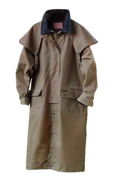 Outback Oilskin Duster with Leather Collar