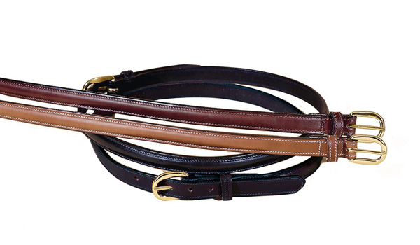 "TORY LEATHER 3/4"" Raised Leather Belt with Sewn Buckle"