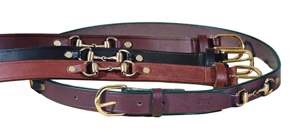 "TORY LEATHER 1"" Snaffle Bit Belt with Brass Buckle"