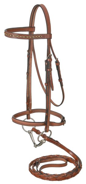 EquiRoyal Raised Snaffle English Bridle With Gold Link & Stone Crystals