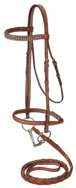Raised Snaffle English Bridle With Silver Link & Blue Stone Crystals