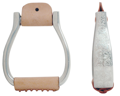 Metalab Aluminum Stirrups, Engraved Visalia