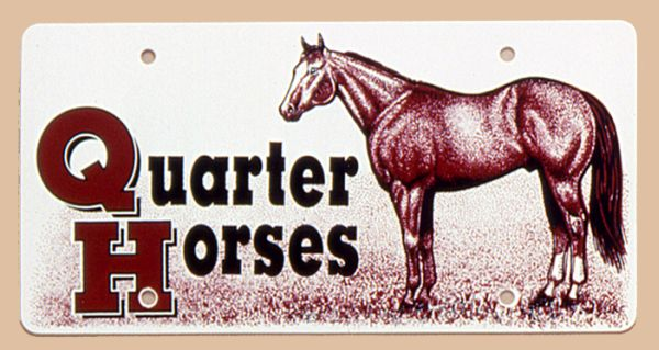 Gift Corral Quarter Horses Plastic License Plate