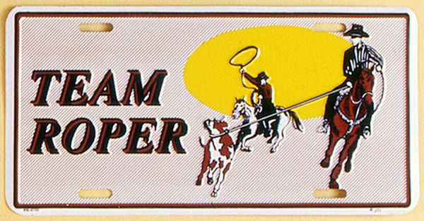 Gift Corral Aluminum License Plate - Team Roper