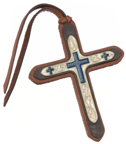Tie On Leather Cross with Three Blue Crosses Silver Overlay
