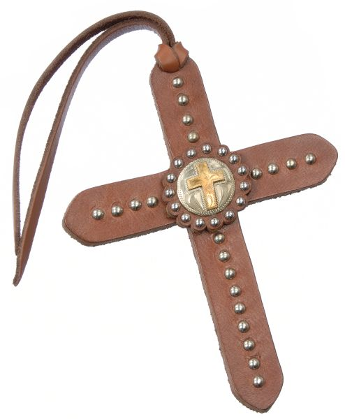 Tie On Leather Cross with Silver Dots & Gold Cross Concho