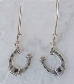 Finishing Touch Horseshoe with Stone Earrings - Euro Wire - Jet