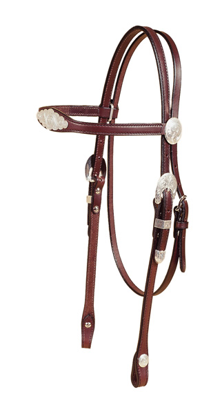 TORY LEATHER Flared Brow Headstall with Oklahoma Style Silver Trim