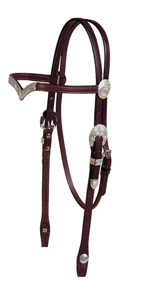 "Tory Leather 5/8"" V Brow Headstall, Oklahoma Engraved Silver Trim"