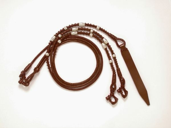 Braided Show Romel Reins With Silver Layered Ferrules