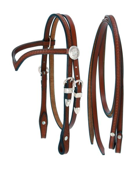 King Series Miniature V Browband Headstall with Silver