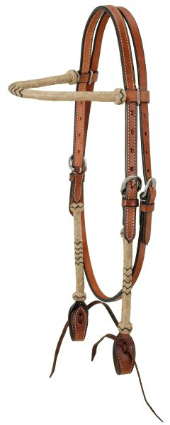 Browband Headstall With Braided Rawhide