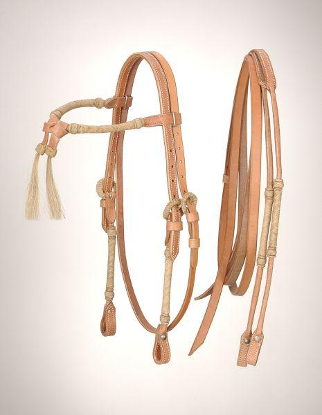 Royal King Rolled Rawhide Futurity Brow band Headstall