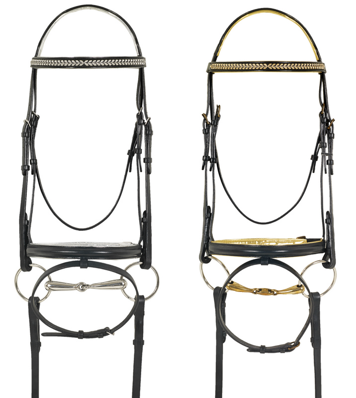 Camelot Euro Dressage Bridle with Metallic Stitching and Padding