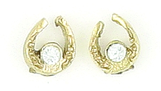 Finishing Touch Mini Horseshoe CZ Birthstone Earrings - Gold Finish
