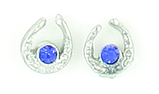 Finishing Touch Mini Horseshoe CZ Birthstone Earrings - Silver Finish