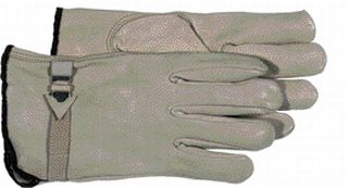 Grain Leather Buckle/Strap Gardening Work Gloves