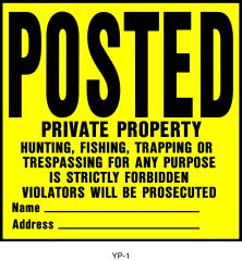 "Plastic Private Property"" Sign"