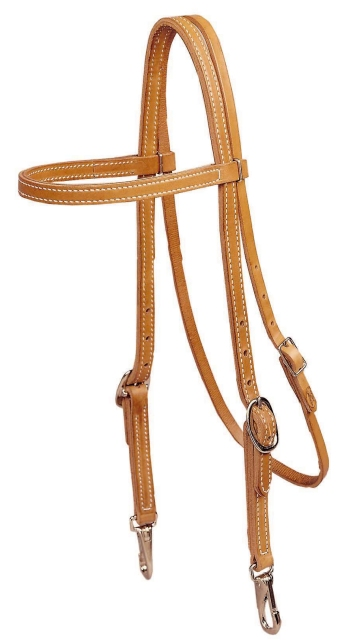 TORY LEATHER Browband Training Headstall - Snap Bit Ends