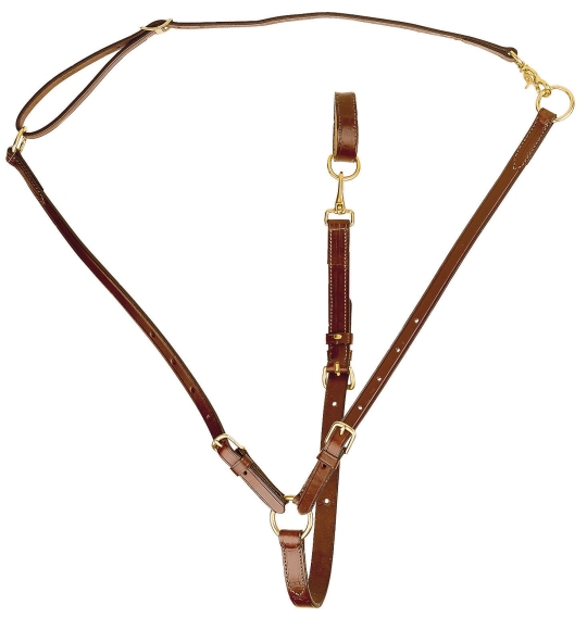 TORY LEATHER Adjustable Training Martingale - Brass Hardware