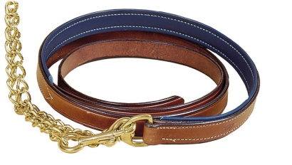 "TORY LEATHER 1"" Padded Lead - Brass Chain"