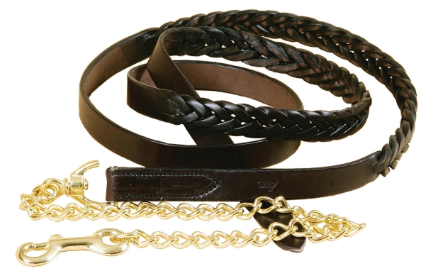 "TORY LEATHER 1"" Braided Lead - Brass Chain"