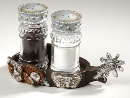 Western Salt and Pepper Set with Spur Holder