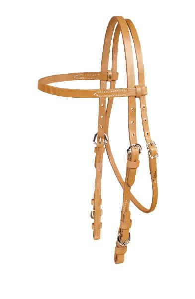 "TORY LEATHER 5/8"" Single Ply Browband Headstall with Nickel Buckle Bit Ends"