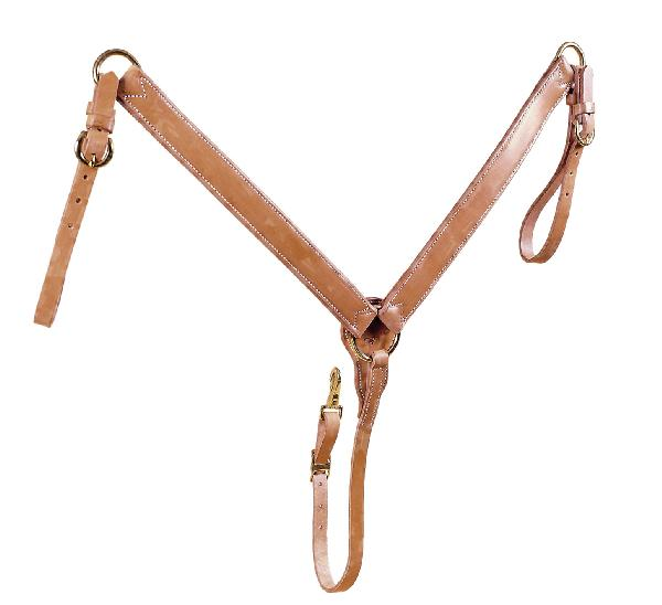 TORY LEATHER Double & Stitched Breast Strap - Brass Hardware