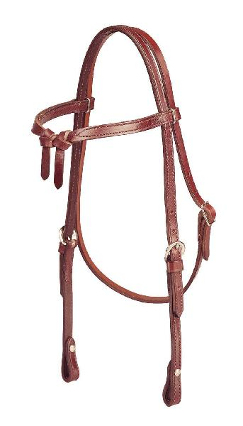 TORY LEATHER Brow Knot Double & Stitched Bridle Leather Headstall