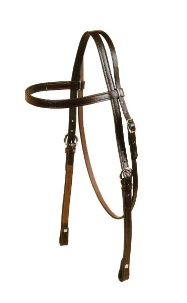 TORY LEATHER Oversized Brow Band Headstall - Chicago Screw Bit Ends