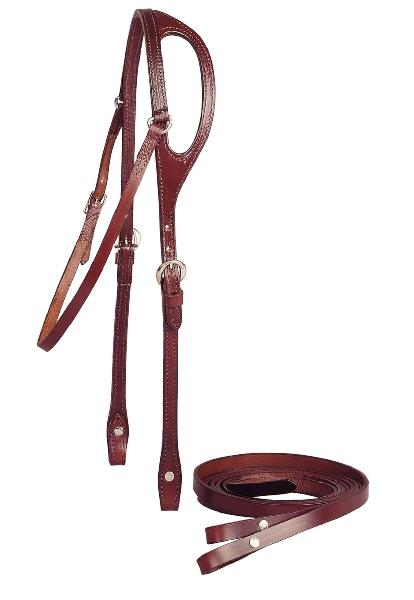 "TORY LEATHER 5/8"" Shaped Ear Headstall & Single Ply Reins"