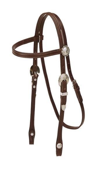 TORY LEATHER Pony Browband Headstall - Silver Buckles & Conchos