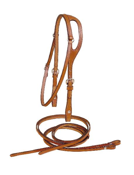 TORY LEATHER 5/8'' Bridle Leather Shaped Ear Headstall and Reins
